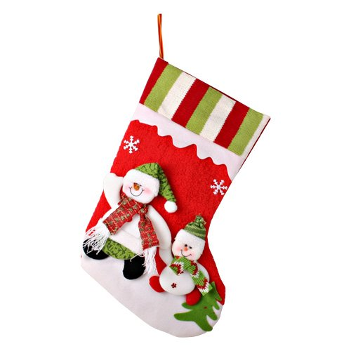 [mia.home®]Nikolaus Strümpfe Weihnachten Santa Nikolausstiefel ZUM FÜLLEN 12 Motiv 44cm/42cm/40cm/32cm/20cm (42cm großer und kleiner Schneemann in rot)