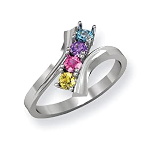 14k White Gold Polished 4-Stone Mothers Ring Mounting