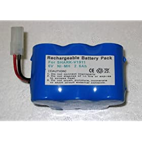 High Capacity Battery for Euro-Pro Shark Cordless Sweeper V1911 Replacing XB1916