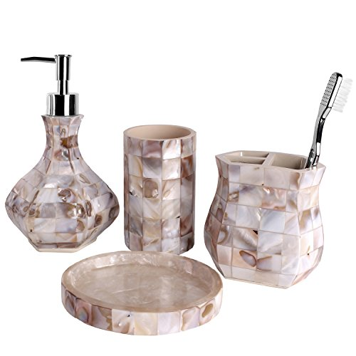 Creative Scents Milano Bath Ensemble, 4 Piece Bathroom Accessories Set, Mother of Pearl Milano Collection Bath Set Features Soap Dispenser, Toothbrush Holder, Tumbler, Soap Dish - Natural Mosaic Capiz (Superman Water Dispenser compare prices)
