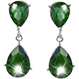 Ever Faith Austrian Crystal Teardrop Dangle Earrings Emerald Color