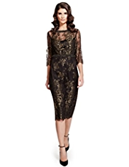 Per Una Speziale Floral Lace Embellished Sparkle Shift Dress