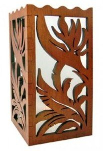 Hawaiian Scalloped Wood Candle Holder Bird of Paradise