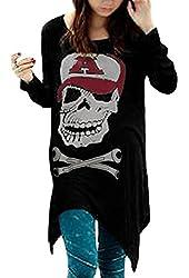 Allegra K Women Skull Cut Out Back Tops Long Sleeve High Low Hem Cool T Shirts