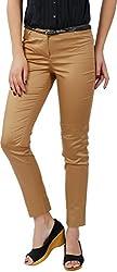 Fashion Stylus Women's Slim Trousers (FT-002_32, Khaki, 32)
