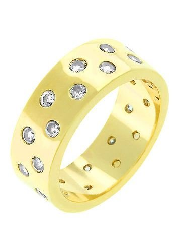 14k Gold Bonded Eternity Band Ring with Two Alternated Rows of Bezel Handset CZ in Goldtone - Gold 14kt - Shiny