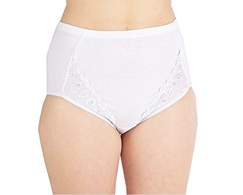 Clearance Stock Womens 100% Cotton Full Briefs With Embrodiery White