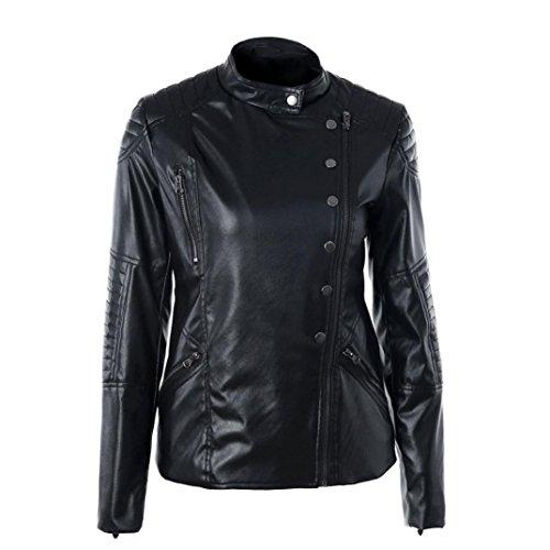 donne cerniera giacca, FEITONG di vintage donne sottile motociclista moto morbida pelle calda (XL, Nero)