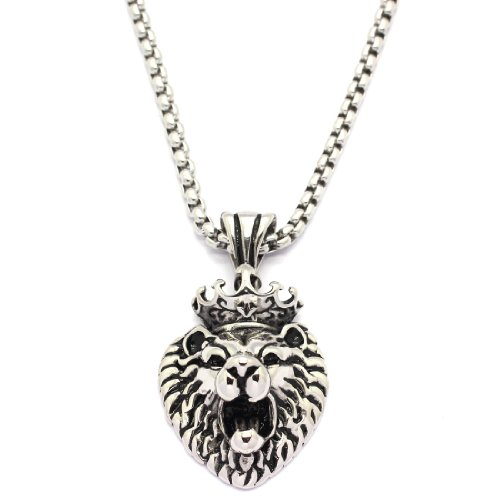 2 PIECE SET: Vintage 19-Inch Stainless Steel Rolo Chain Necklace With Roaring Crowned Lion Pendant (LIFETIME WARRANTY)