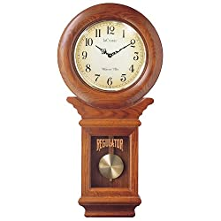 River City Clocks Chiming American Regulator Wall Clock with Swinging Pendulum and Oak Finish - 27 Inches Tall - Model # 3416O