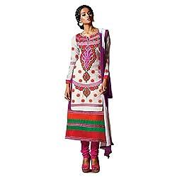 Pavani Women's Cotton Semi Stitched Dress Material (D1500046_White_Free Size)