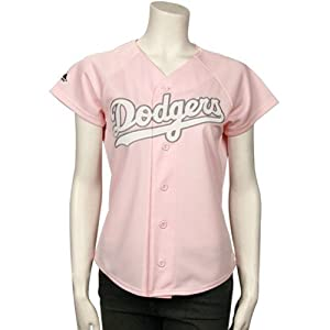 Russell Martin Los Angeles Dodgers Ladies Pink Jersey by Majestic