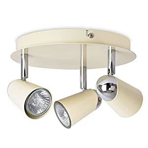 MiniSun - Modern Gloss Cream & Chrome Adjustable 3 Way Round Ceiling Spotlight by MiniSun