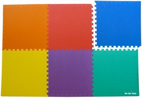Cheap We Sell Mats 72 Sq. Ft. (set of 18 + borders) 'We Sell Mats' Anti-Fatige Interlocking EVA Foam Flooring-Set of six Multi-Color Tiles-Each 2'x2'x3/8″ Thick (B001ELVQRU)
