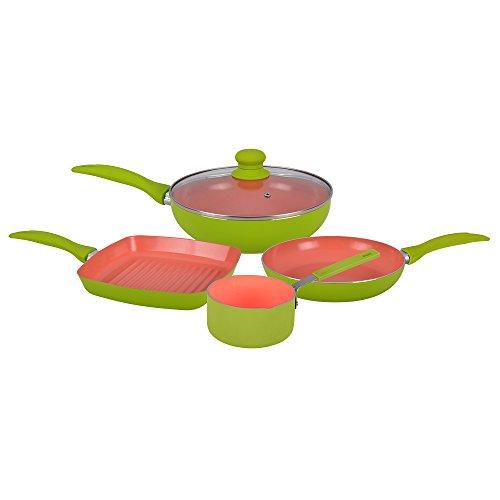 Wonderchef Oxford Aluminium Kitchen Set, 5-Pieces, Green/Dark Peach