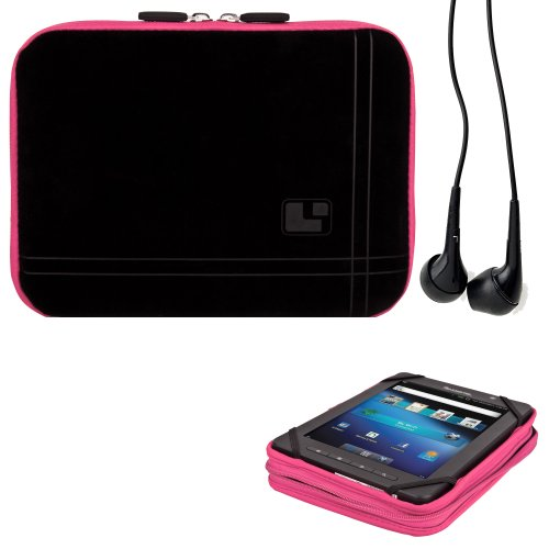 8 Inch Tablet Case New York Pink Neoprene Bubble Padded Zippered Sleeve (Fits the Barnes and Noble Nook Color, Simple Touch, Tablet, and Touch) + Black Barnes and Noble Nook Color, Simple Touch, Tablet, and Touch Compatible Stereo Ear Buds
