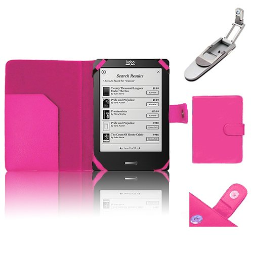 Xtra-Funky Exclusive Pu Leather Book Wallet Style Case For Kobo Touch Ereader Includes Robotic Pop Up Clip On Led Light - Hot Pink