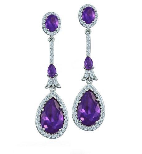 Bling Jewelry Amethyst Color CZ Pave Set Teardrop Deco Chandelier Earrings