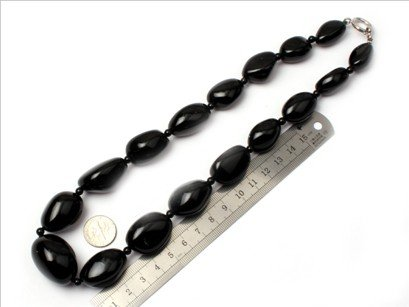 16--30mm graduated black agate beads strand necklace 18