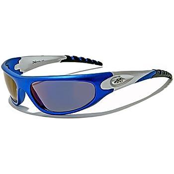 X-Loop Lunettes de Soleil - Sport - Cyclisme - Ski - Conduite - Moto - Plage / Mod. 2610 Bleu Argent / Taille Unique Adulte / Protection 100% UV400