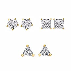 Efulgenz White Gold Plated Stud Earrings For Women(Pack Of 3Pairs)
