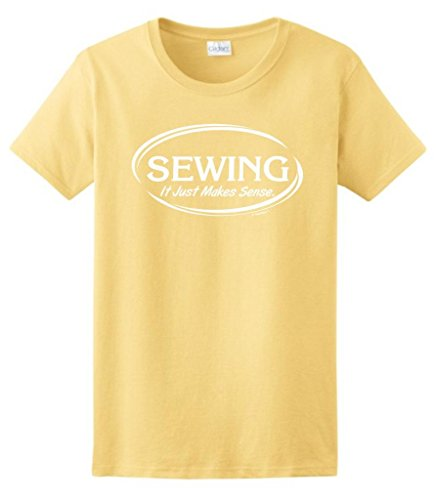 Sewing It Just Makes Sense Ladies T-Shirt Large Yellow