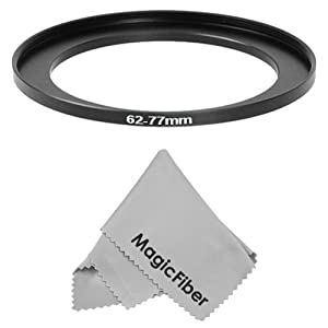 Goja 62-77MM Step-Up Adapter Ring (62MM Lens to 77MM Accessory) + Premium MagicFiber Microfiber Cleaning Cloth