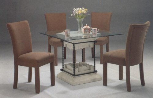 Cheap 5pc Faux Stone Glass Top Dining Table & Brown Parson Chairs Set (VF_dinset-7065-4550BRN)