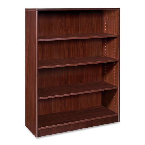 Lorell 4-Shelf Bookcase, 36 by 12-1/2 by 48-Inch, Mahogany High 4 Shelf Bookcase