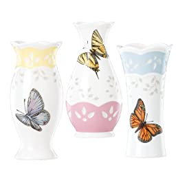 Lenox Butterfly Meadow Colors 4-3/4-Inch Small Vase, Set of 3