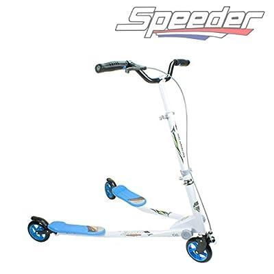 3 Wheels Kids Maxi Speeder Slider Winged Scooter Tri Motion Flicker Drifter (blue)