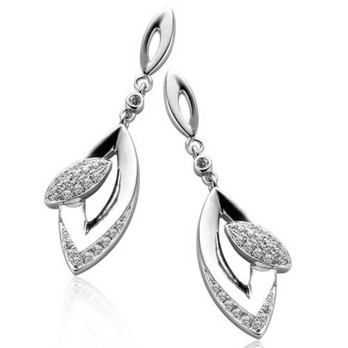 C.Z. (.925) S/S Oval Outlined Micro Setting Earrings (Nice Holiday Gift, Special Black Firday Sale)