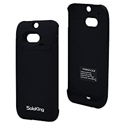 SolokingTM Rechargeable Extended Charging Case,4500mah Protective Charger Case for Htc One M8 with Kickstand+4 Led Charge Indicator Light+perfect Cutouts (Black)