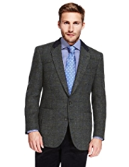 Sartorial Luxury Pure New Wool Harris Tweed Large Checked Jacket