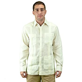 Mens beach wedding clothing, ivory guayabera shirt.