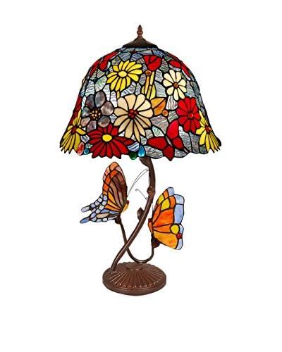 Arte dal Mondo Lámpara De Mesa Fiori E Farfalle