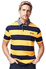 Blue Harbour Pure Cotton Block Striped Slub Polo Shirt