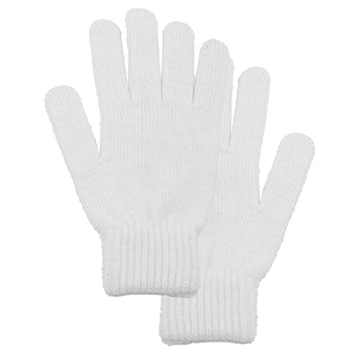Simplicity Men/Women Full Gloves Solid Color Knitted Winter Warm Gloves, White (White Facing Insulation compare prices)