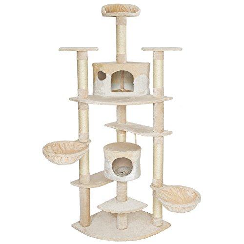 TecTake Tiragraffi per gatti 204 cm sisal albero gatto gioco beige bianco