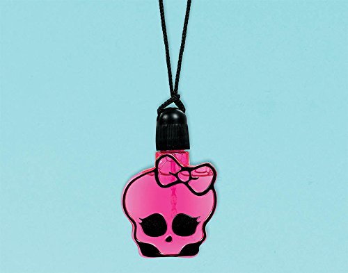 Amscan Freaky Fab Monster High Birthday Party Favor Skullette Bubble Bottle Necklace Body Glitter (1 Piece), Black/Hot Pink, 2 x 1""