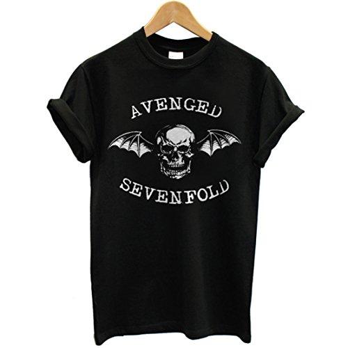 T-shirt Uomo - Avenged Sevenfold maglietta con stampa rock 100% cotonee LaMAGLIERIA,L,Nero