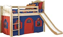 Big Sale Bolton Furniture 9811200LT2BR Cottage Low Loft Bed, Natural, with Bottom Blue/Red Curtain Playhouse and Slide