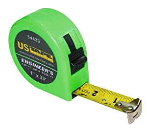 US Tape 54433 1-Inch x 33-Foot Engineer--10ths and 100ths- Standard Green Case No Rubber Boot