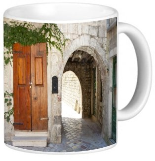 Rikki Knighttm Old Arched Gate And Wooden Door On Cobblestone Design 11 Oz Photo Quality Ceramic Coffee Mug Cup - Fda Approved - Dishwasher And Microwave Safe front-603413