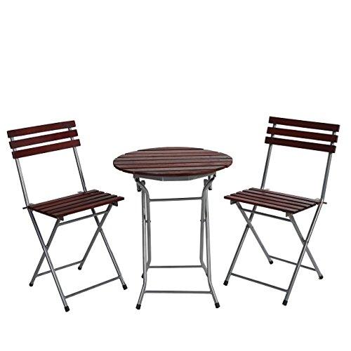 Set tavolo con 2x sedie Garmisch ideale giardino terrazza pieghevole ~ legno scuro