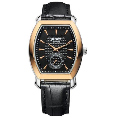 JIUSKO Luxury Multifunction Quartz Rose Gold Case / Genuine Black Leather Dress Watch 121LRG0202