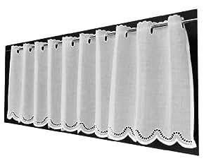 21 cm breite scheibengardine batist mit gebogtem abschluss 27 cm hoch. Black Bedroom Furniture Sets. Home Design Ideas