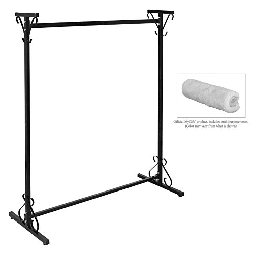 Professional 4-Ft Long Victorian Scrollwork Vintage Black Iron Clothing Hanger / Garment Rack - MyGift® 2