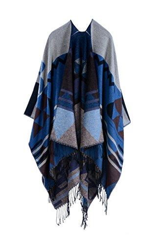 Inverno reversibile donna oversize coperta Poncho Cape Scialle Sciarpe DarkBlue F