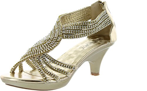 JJF Shoes Angel37 Gold Strappy Rhinestone Dress Sandal Low Heel Shoes-9
